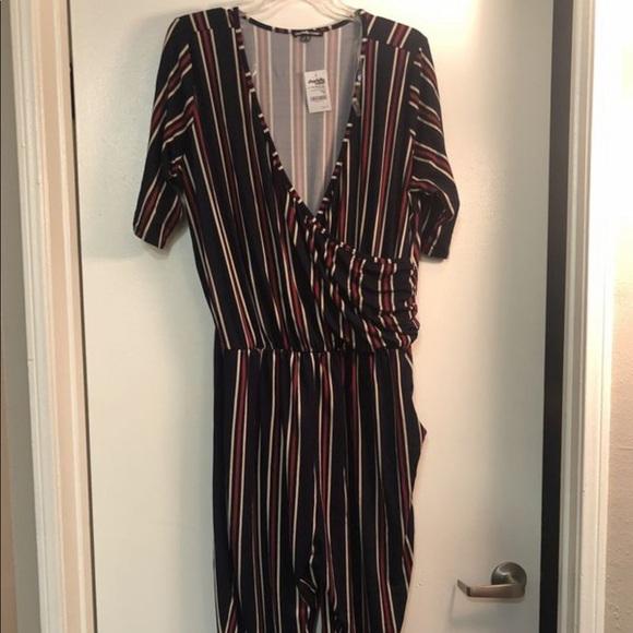 2065bc4536d Women s Plus Size 2X Navy Blue Striped Jumpsuit